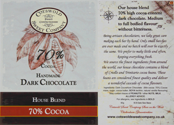 Handmade 70% Dark Chocolate Bar