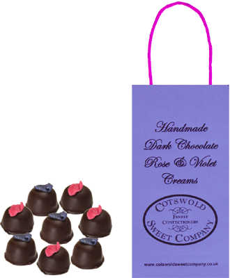 Dark Chocolate Rose And Violet Creams Boutique Bag