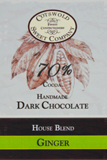 Handmade 70% Dark Chocolate Ginger Bar