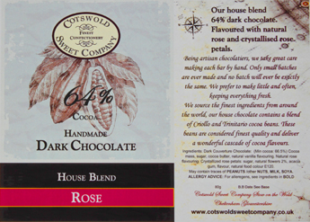 Handmade Dark Chocolate Rose Bar